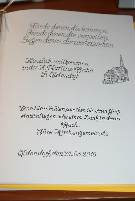 Gästebuch der Kirche